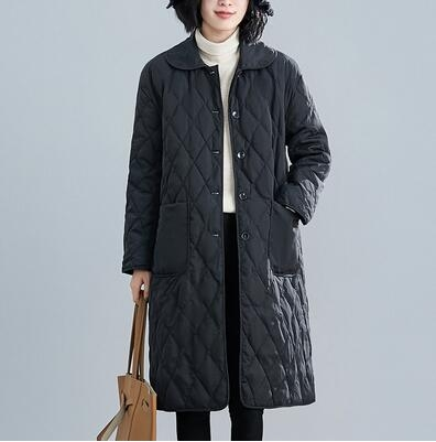 滿千免運~棉服 中長款外套~純色單排扣減齡中長款輕薄棉衣棉服女0059.MC005A衣時尚
