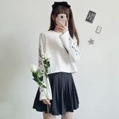 秋季女裝日繫少女花朵刺繡圓領寬鬆長袖螺紋套頭連帽T恤學生百搭上衣洋裝