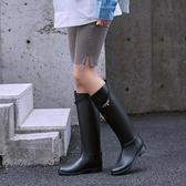雨鞋女兩穿時尚款外穿馬靴雨靴加絨高筒水靴長筒女士水鞋防水防滑 漾美眉韓衣