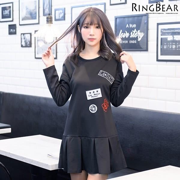 洋裝--可愛俏麗活潑朝氣圓領徽章貼布裝飾波浪下襬長上衣/洋裝(黑.粉2L-3L)-A273眼圈熊中大尺碼