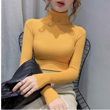 高領毛衣 長袖針織上衣女 上衣長袖內搭套頭修身顯瘦薄款打底針織衫1382 TCF1-22A 胖妞衣櫥