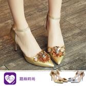 韓系氣質花朵繫踝低跟涼鞋/2色/35-42碼 (RX1121-X99) iRurus 路絲時尚