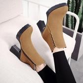 女短靴 高跟靴子 秋冬防水臺厚底磨砂馬丁靴大碼40-43碼女靴粗跟短靴《小師妹》sm2795