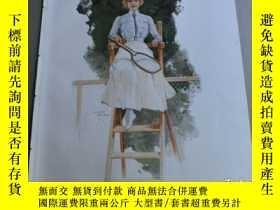 二手書博民逛書店【罕見】1900年彩色平版印刷畫《網球美女裁判》(Preisri