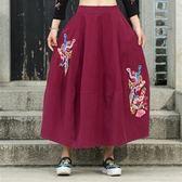 民族風中長裙-中國風復古精緻繡花女裙子2色73mo7[時尚巴黎]