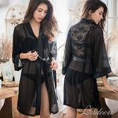 睡袍 Ladoore 迷幻黑魔法 奢華蕾絲高質感睡袍(黑)