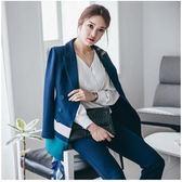 西裝外套女韓國時尚休閑撞色西裝套裝女2018新款秋裝小西服中長款