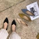 低跟鞋 單鞋新款平底百搭豆豆鞋低跟尖頭軟底女鞋淺口套腳懶人鞋