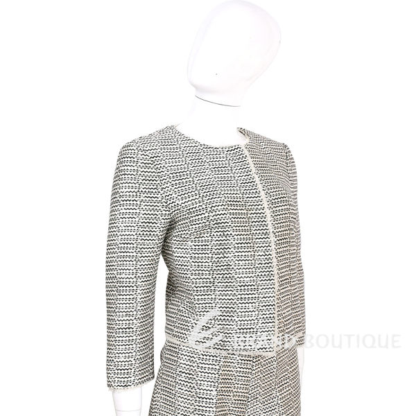 SCERVINO 米黑色織紋流蘇滾邊長袖外套 1620324-37