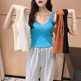 背心 小可愛短版上衣網線韓火火 每個顏色都想抱走 刺繡針織吊帶打底小背心女1F143快時尚