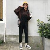 ins超火的背帶褲女韓版寬鬆褲子春2019新款黑色牛仔褲網紅老爹褲