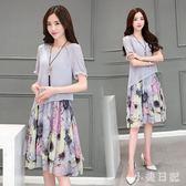 大碼洋裝 2019夏季韓版新款微胖MM顯瘦遮肚子寬鬆短袖中長連身裙減齡 GD1252小美日記』