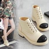粗跟短靴-流行經典拚色繫帶女馬丁靴73is31[時尚巴黎]