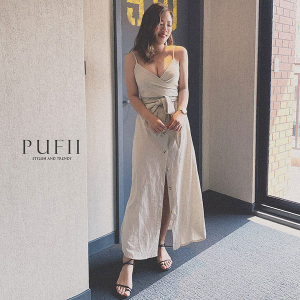 限量現貨★PUFII-洋裝 細肩繞腰綁帶排釦洋裝-0627 現+預 夏【CP16955】