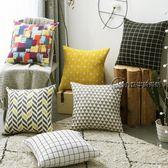 現代簡約黑白格子抱枕客廳沙發大靠墊靠枕北歐布藝含芯抱枕套家用推薦