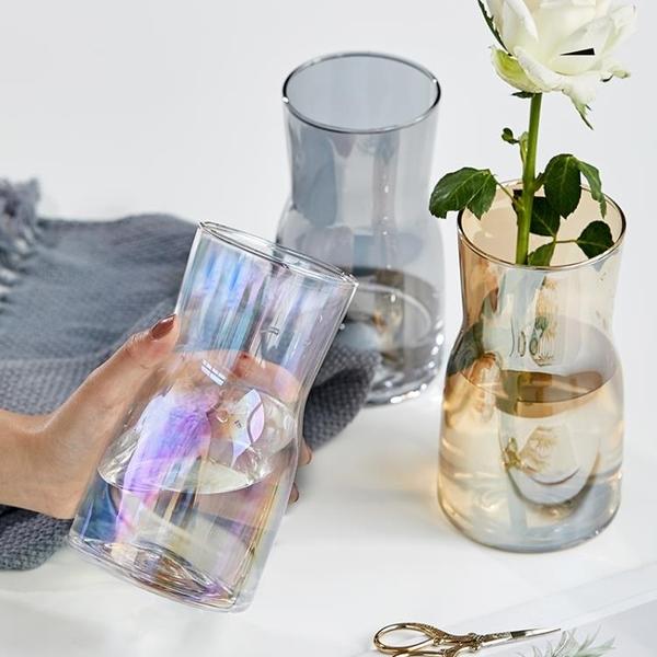 北歐ins風彩色寬口玻璃花瓶透明大口徑廣口桌面客廳水培鮮花插花   koko時裝店