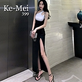 克妹Ke-Mei【ZT65714】slys勾魂尤物大開叉心機深U吊帶長裙洋裝
