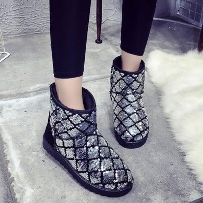 低筒雪靴-時尚亮片個性保暖女平底靴子3色73kg23[巴黎精品]