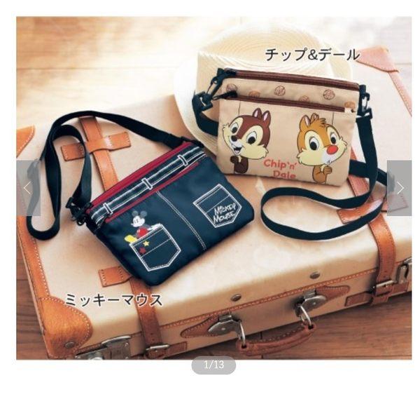 【京之物語】日本代購迪士尼多功能可觸控手機單肩背包 側背包(米奇/奇奇蒂蒂)-預購商品