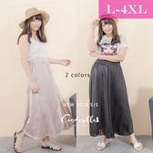 大碼仙杜拉-中大尺碼 韓版簡約紗質修身寬褲/下半身 L-4XL碼 ❤【SIC6605】(預購)