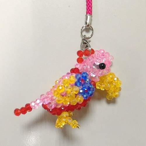彩虹鸚鵡水晶串珠吊飾