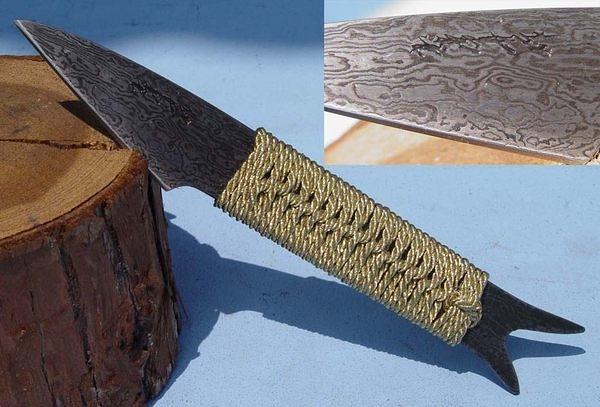 郭常喜與興達刀鋪-積層花紋鋼手工製作小魚刀-繩柄魚型(C0002)賀!榮獲高雄城市品牌CAD認證