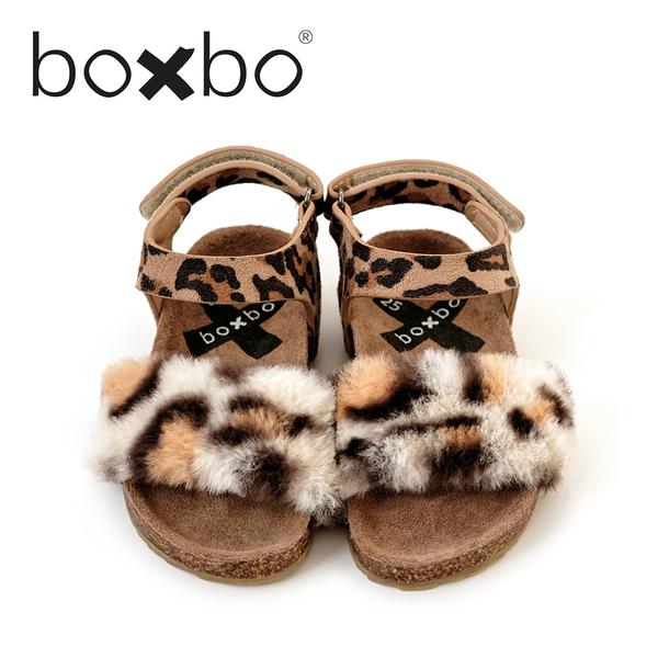 BOXBO 法國 兒童涼鞋-里昂豹-叢林棕(大童款30-37)