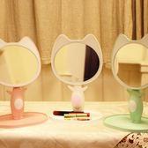 卡通LED化妝鏡帶燈 萌寵可愛書桌收納公主少女心臺燈補光梳妝鏡子 森活雜貨