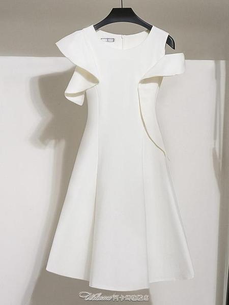 白色修身連身裙夏顯瘦露肩禮服裙子女神範網紅桔梗法式閨蜜裝禮服【快速出貨】
