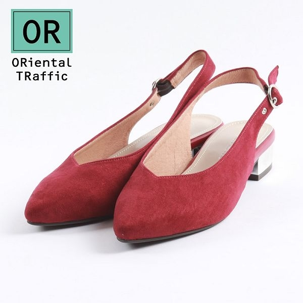 【ORiental TRaffic】V口金屬圓環繫帶銀跟鞋-雅緻紅