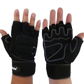 健身手套 半指(可護腕)-吸汗透氣加長加寬護腕男運動手套71w5[時尚巴黎]