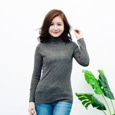 闕蘭絹 百搭款高領蠶絲針織羊絨上衣-6010(灰色)