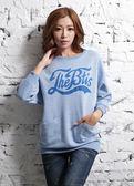 【BTIS】斑點法蘭絨寬版女七分袖T恤 藍色