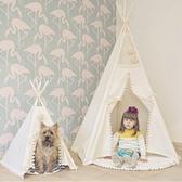 (大號帳篷) 印地安風白色毛球邊五角帆布帳篷 帳棚 親子 遊戲屋 野餐 居家裝飾 拍攝 寵物窩 現貨