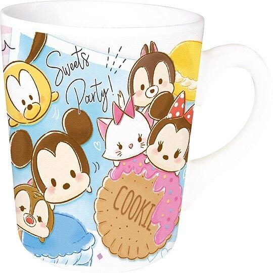 〔小禮堂〕迪士尼 TsumTsum 陶瓷馬克杯方巾組《藍粉.馬卡龍》手帕.咖啡杯.茶杯 4548626-10621