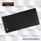 【Roberta Colum】諾貝達 男用皮夾 長夾 專櫃皮夾 進口軟牛皮鉚釘長夾 (黑色-23158)【威奇包仔通】