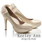 ★2017春夏★Keeley Ann浪漫滿分~後蝴蝶結真皮軟墊新娘高跟鞋(粉金色)