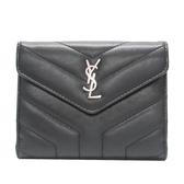 SAINT LAURENT YSL 聖羅蘭 黑色人字紋牛皮logo銀釦三折短夾 Loulou Compact BRAND OFF