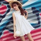 蕾絲洋裝 蕾絲仙女裙夏2021新款韓版鏤空木耳邊高腰顯瘦小個子ins連身裙 韓系小禮服