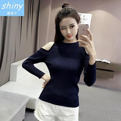 【V1404】shiny藍格子-好感美搭.清新性感露肩長袖針織上衣