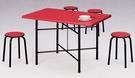 HY-Y304-5  紅色#02木心美耐板4X2.5尺餐桌剪刀腳