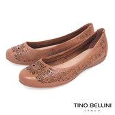 Tino Bellini 巴西進口質感皮革鏤空雕花娃娃鞋_ 棕 B83233 歐洲進口款