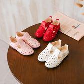 2018秋夏新款女童鞋公主鞋學生鏤空單鞋中大童皮鞋軟底透氣豆豆鞋  百搭潮品