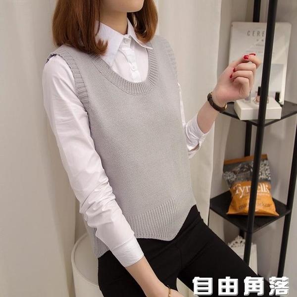 針織背心 新款女裝學院風寬松 圓領 針織衫 毛衣馬甲短款外套 自由角落