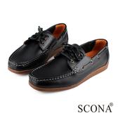 SCONA 全真皮 經典美式手工帆船鞋 黑色 1232-3