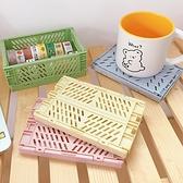 迷你桌面折疊式文具收納籃 收納籃 文具收納籃