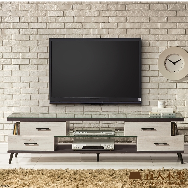 日本直人木業-IESON白橡木180CM附玻璃電視櫃