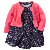 【美國Carter's】套裝2件組-小碎花包屁式洋裝+純棉小外套 121G459