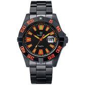 Olympia Star奧林比亞之星 夜空使者炫彩氚氣石英腕錶-橘/43mm
