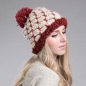 針織毛帽 羊毛-韓版百搭雙色方格女毛帽3色73id20[時尚巴黎]